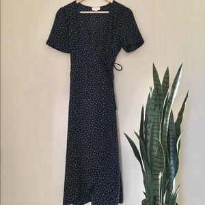 EVERLY Navy Polka Dot Confetti Wrap Midi Dress